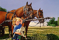 Girl with Hay Cart